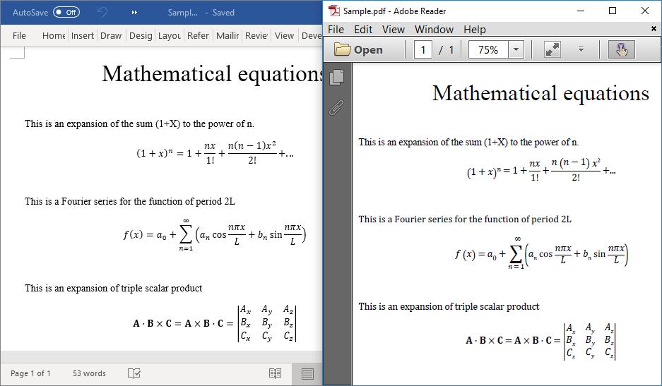 Word到PDF转换中的数学方程