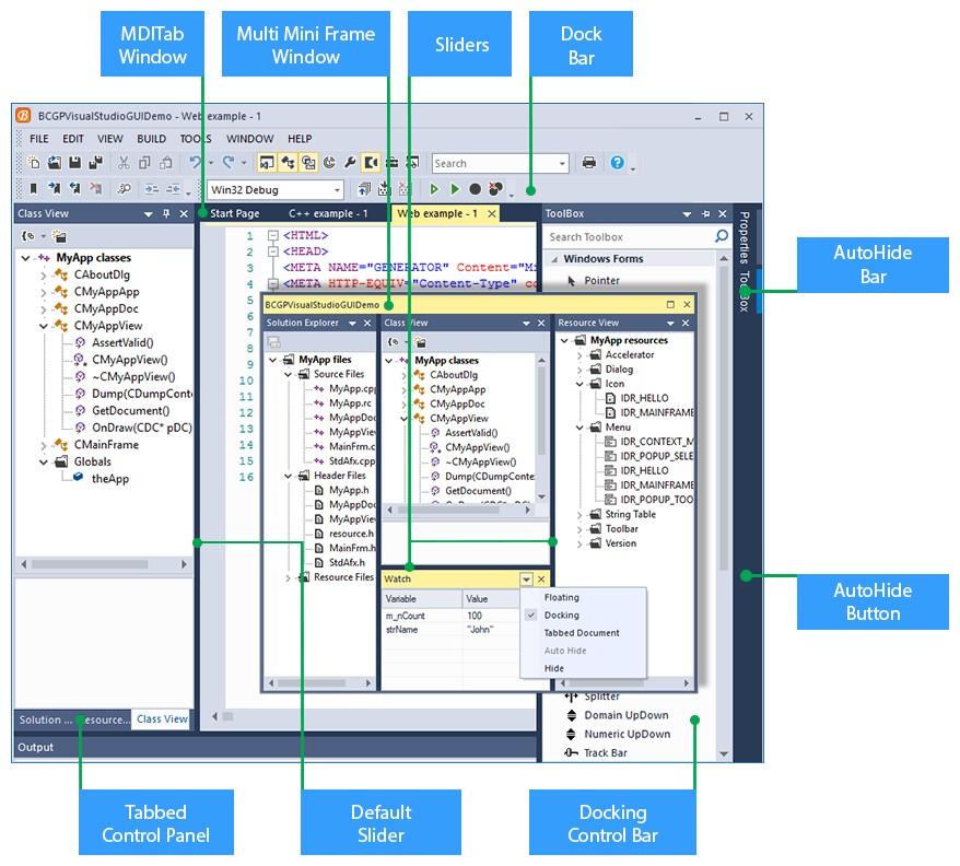 BCGControlBar Pro for MFC帮助文档:库结构