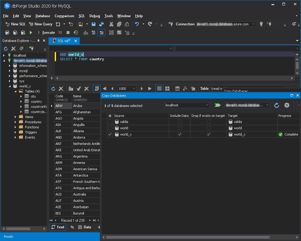 将数据库复制到Azure数据库以获取MySQL数据库-结果