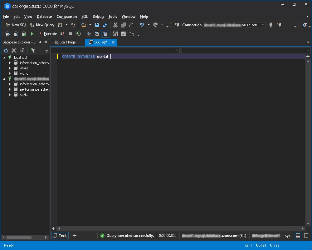 在Azure MySQL数据库中创建数据库
