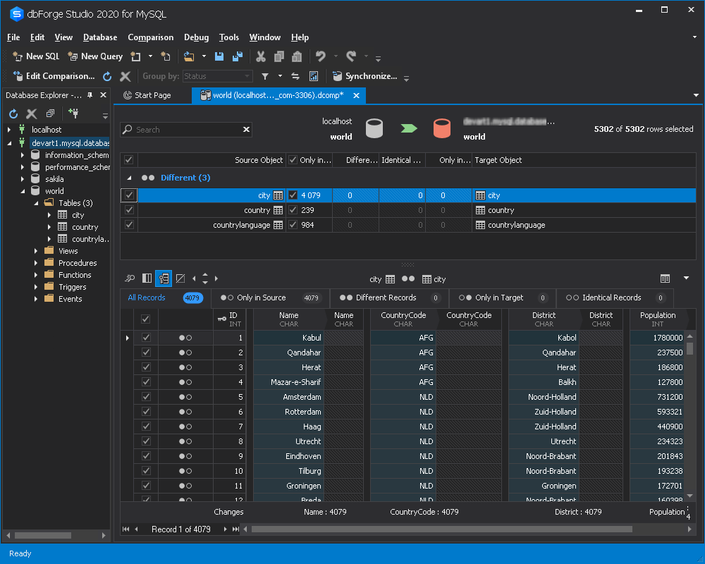 数据比较结果-Azure MySQL服务器