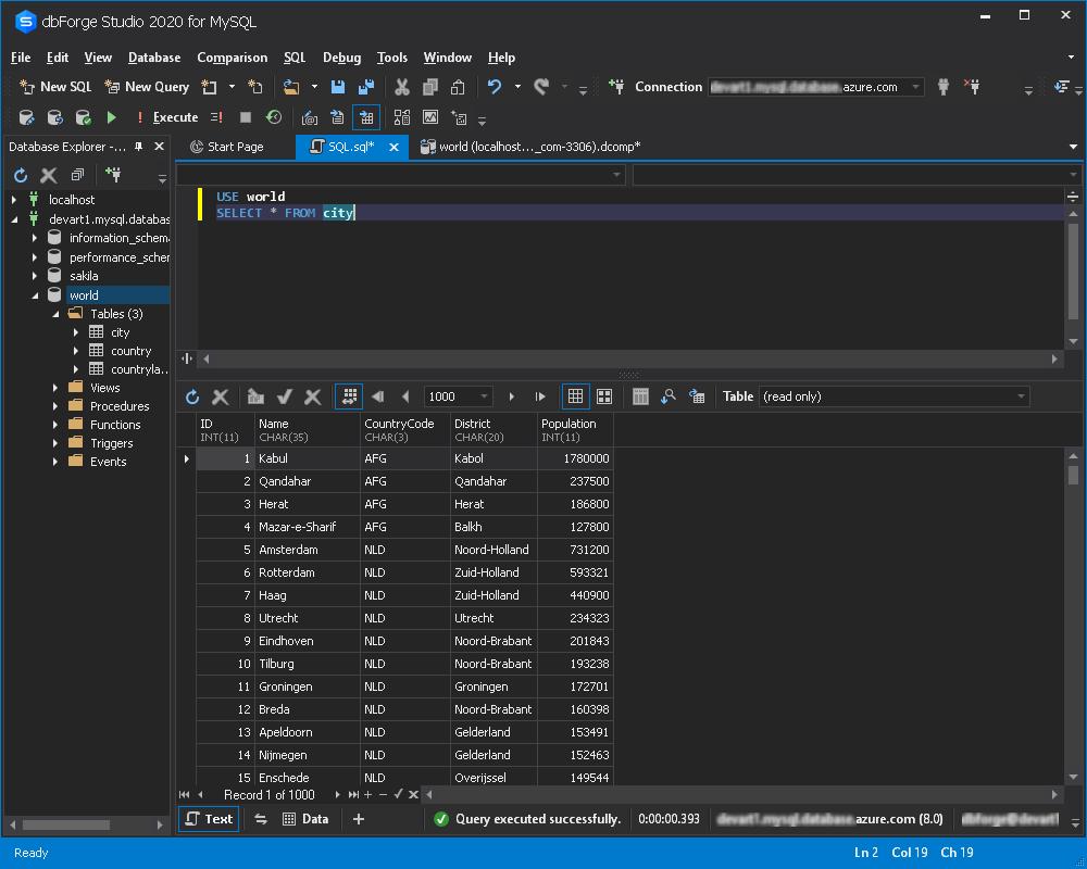 Azure for MySQL-数据库成功迁移