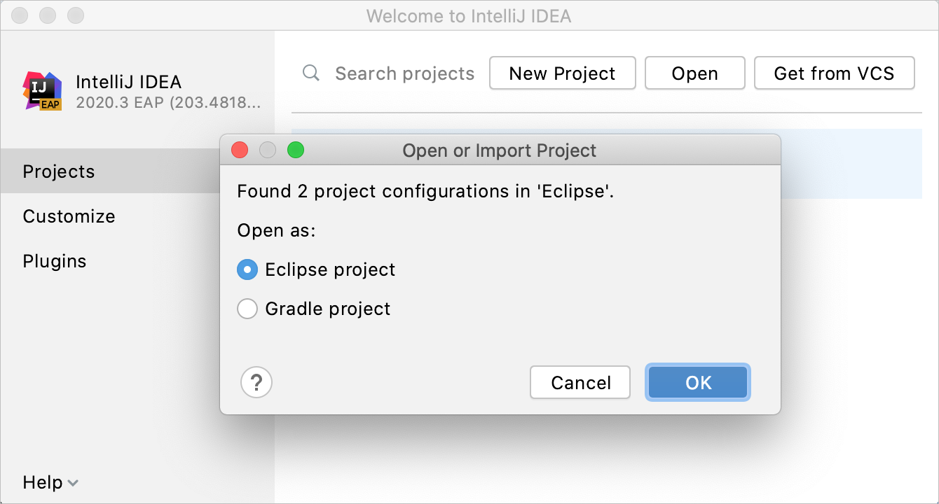 提示您选择如何导入项目的对话框