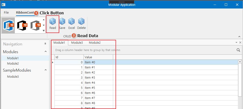 DevExpress WPF使用教程:如何在根RibbonControl中显示子模块中的WPF Ribbon项