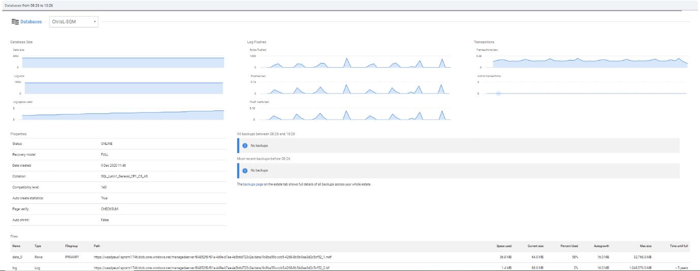 Azure SQL托管实例的数据库指标