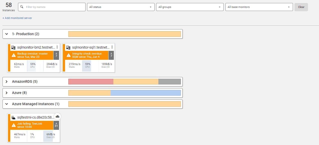 SQL Monitor中的全局仪表板