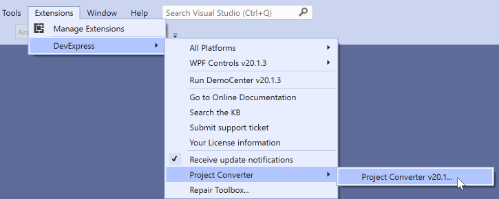 DevExpress WPF控件入门指南:菜单项