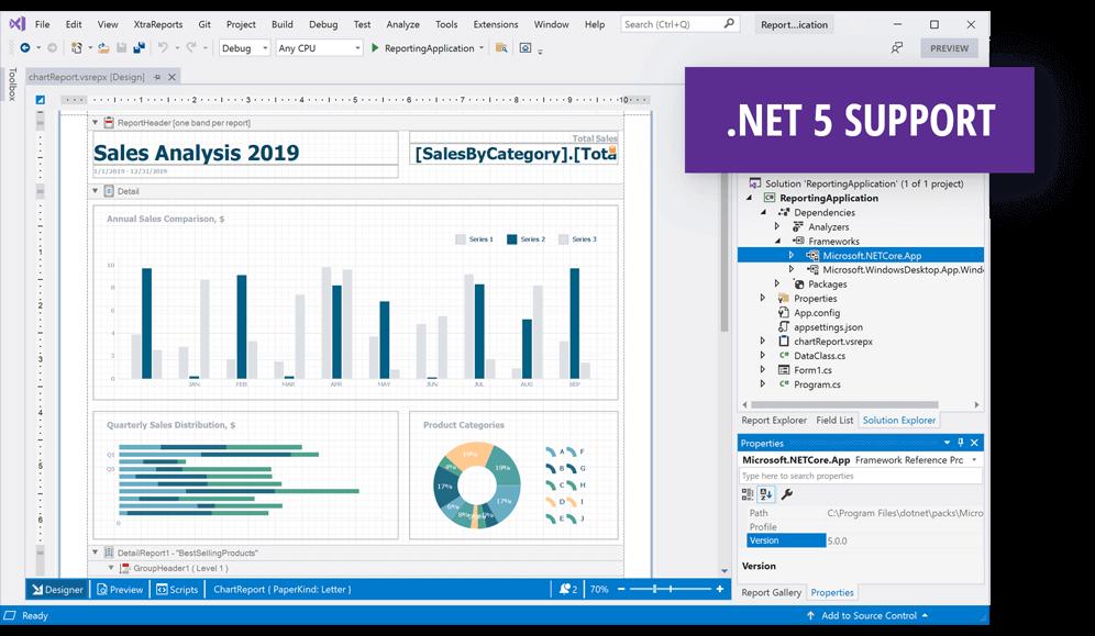DevExpress .NET Reporting v21.1新版亮点:Visual Studio报表设计器兼容.NET 5-图解