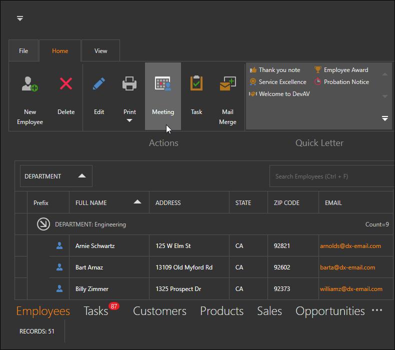 DevExpress WPF主题列表图解 - TouchlineDark主题