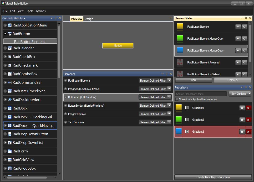 WinForm界面控件Telerik UI for WinForm初级教程 - 预览和更改控件外观 - 图集