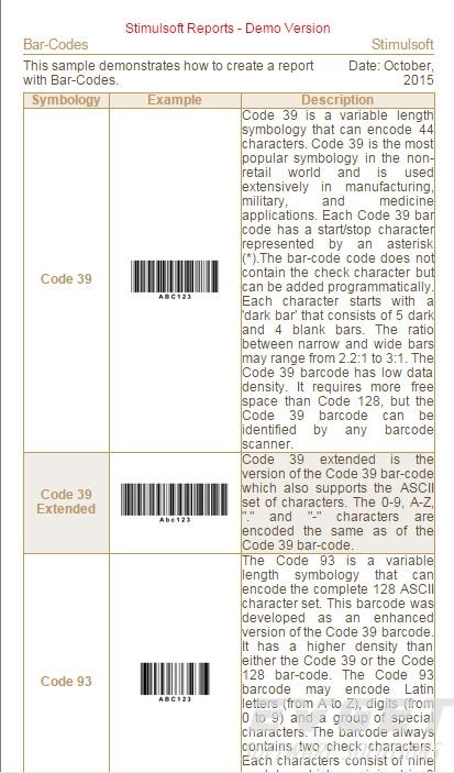 Stimulsoft Reports.Java界面预览:Bar-Codes