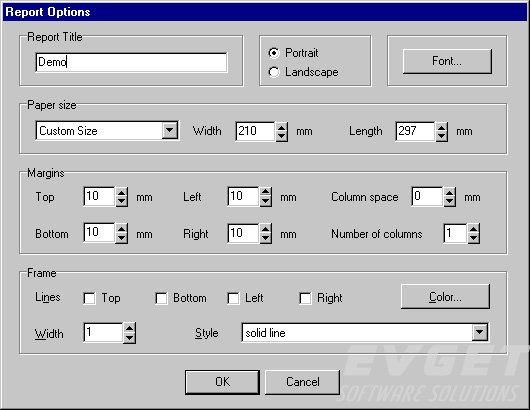 The report options dialog