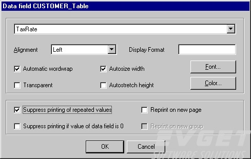 The property dialog for a data field