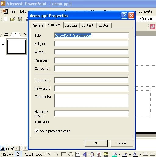 The Properties dialog