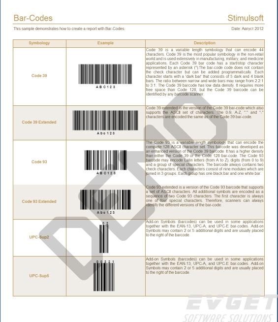Stimulsoft Reports.Ultimate界面预览:Bar Codes