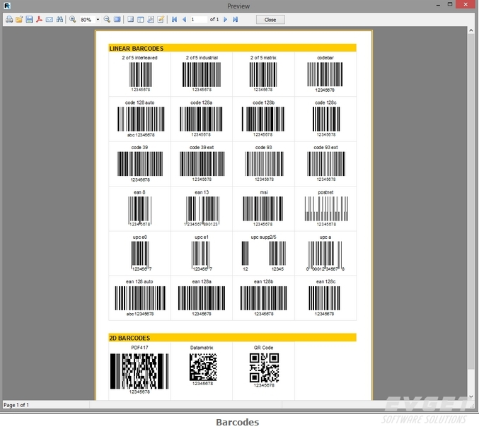 FastReport VCL界面预览:barcodes