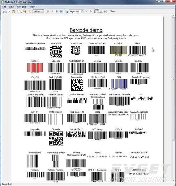 NCReport界面预览:barcode