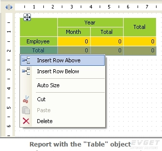 """FastReport.Net界面预览:report with the """"table"""" object"""