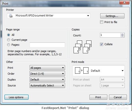 FastReport.Net界面预览:print dialog