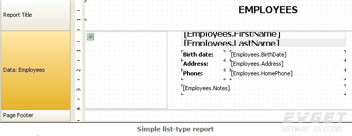 FastReport.Net界面预览:simple list-type report
