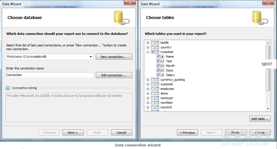 FastReport.Net界面预览:data connection wizard