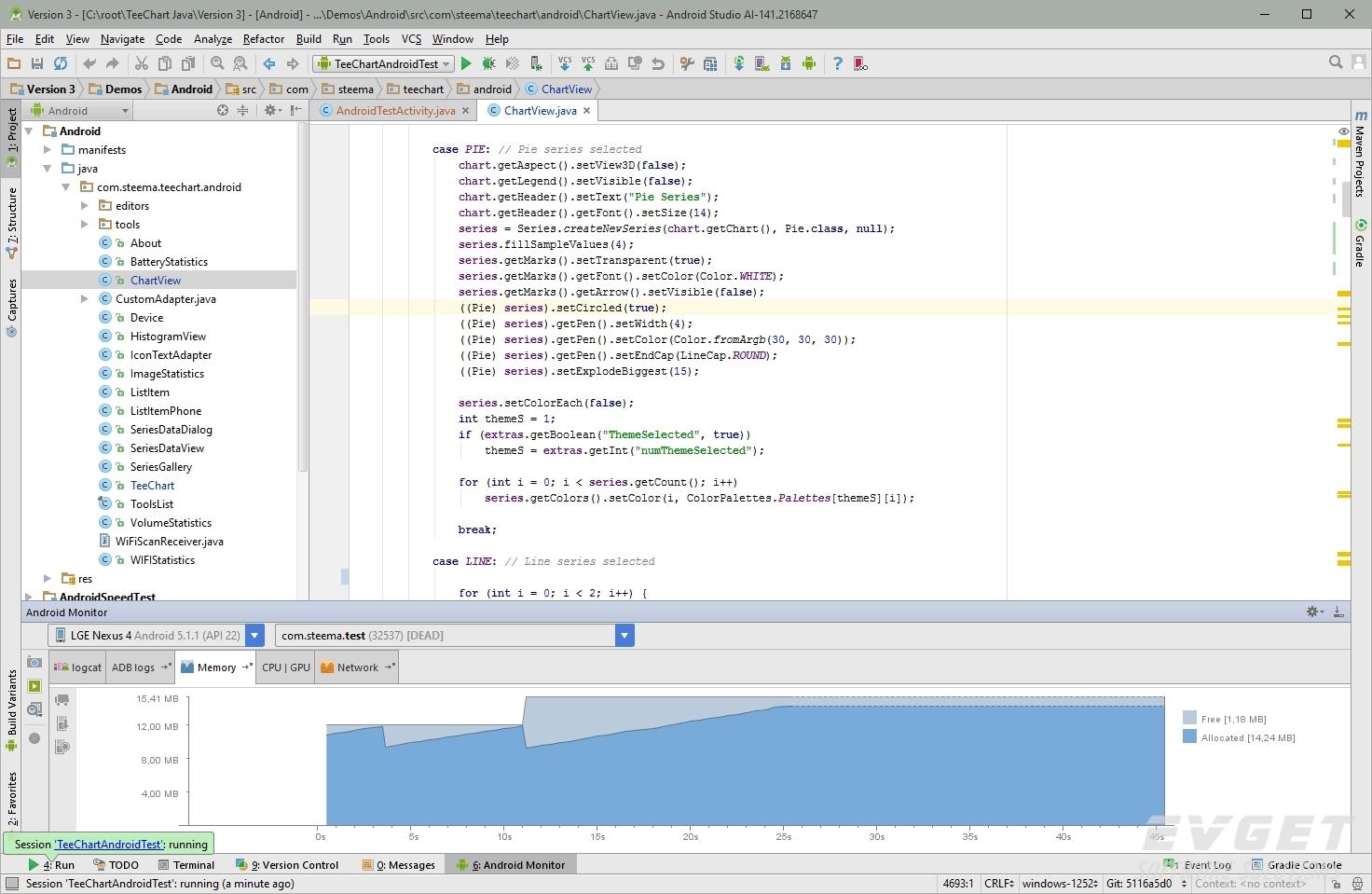 TeeChart Java for Android界面预览:AStudio