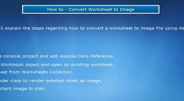 Aspose.Cells:转换工作表为图像