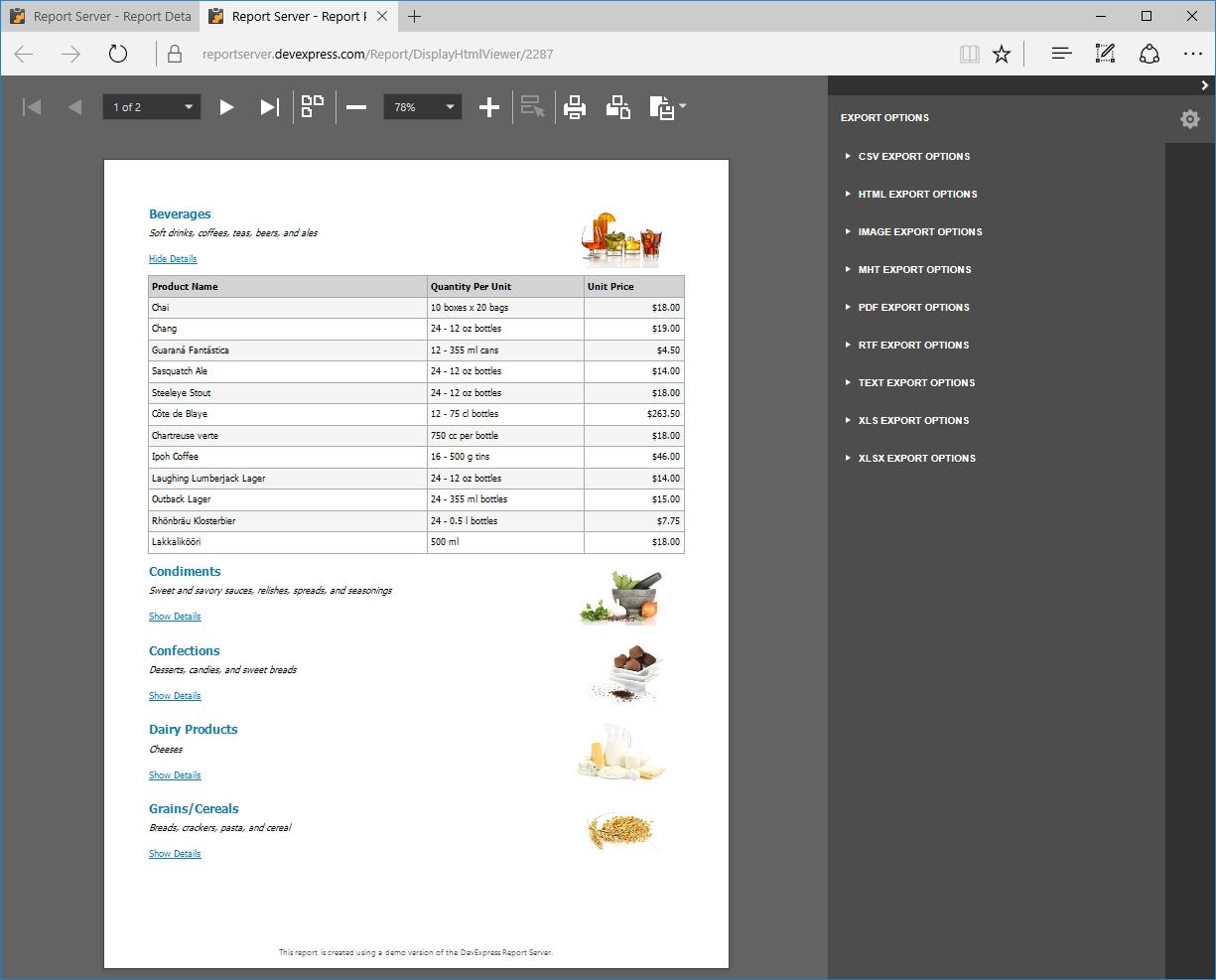 DevExpress Report Server界面预览:DevExpress-Report-Server-DrillDown