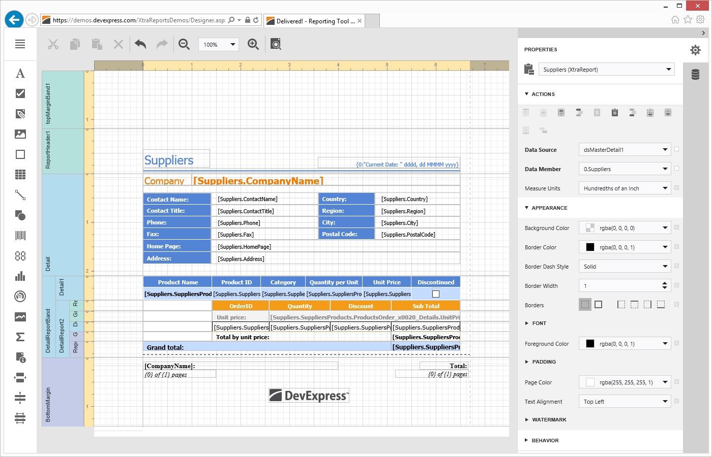 DevExpress Reporting界面预览:aspnet-enduser-report-designer