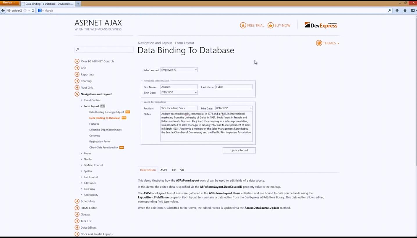 DevASP.net框体布局数据绑定