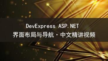 DevExpress ASP.NET 界面布局与导航教学视频