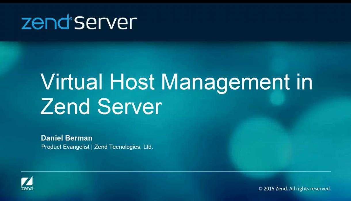 Zend Server视频:虚拟主机管理