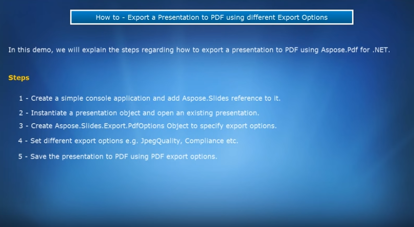 Aspose.Slides for .NET视频教程:将演示文稿导出为PDF