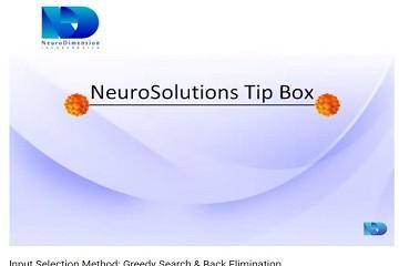 NeuroSolutions视频教程:最佳输入法-Greedy Search & Back Elimination