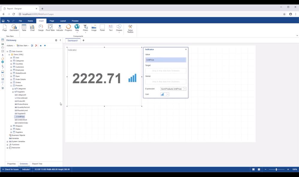 Stimulsoft ASP.NET仪表板:连接XML数据源并在仪表板上创建指示器
