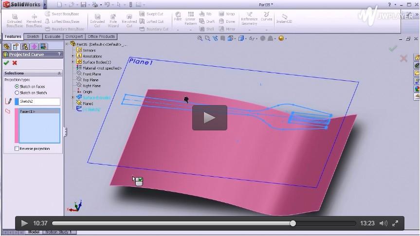 SolidWorks教程13 - 叉子