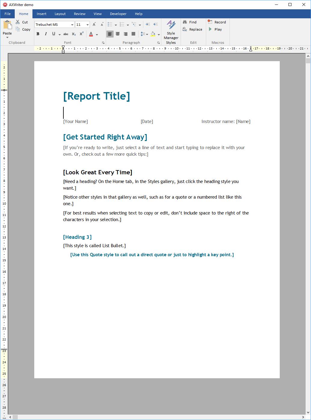 AXWWriter预览:查看和编辑应用程序中的MS Word文件。