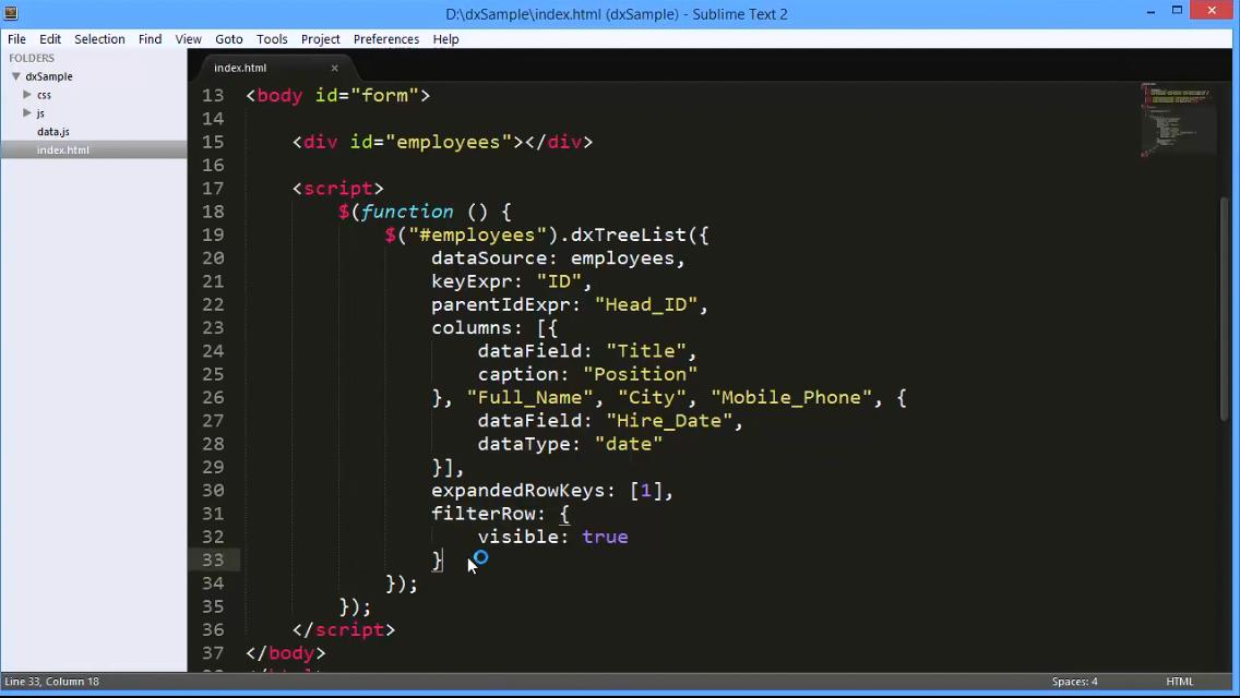 DevExtreme视频教程:使用HTML5 TreeList进行过滤