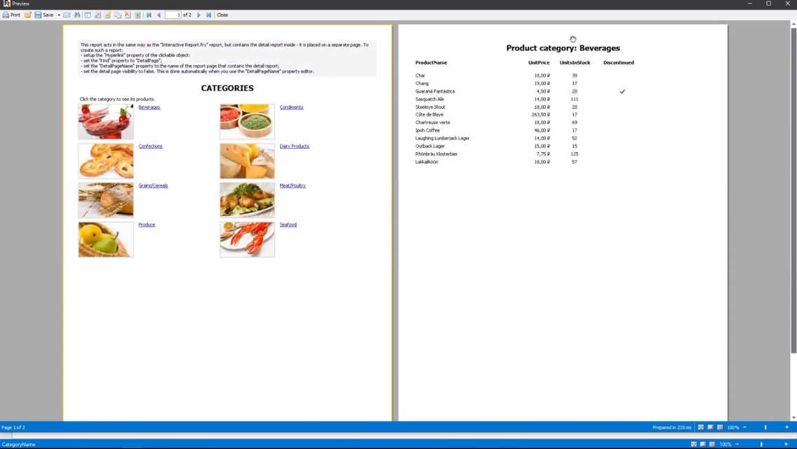 FastReport .NET演示:交互式报表 -  2合1