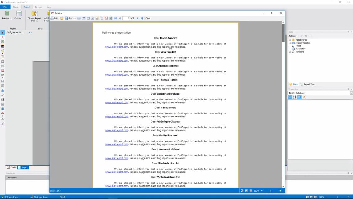 FastReport .NET演示:报表中的邮件合并功能(ENG)