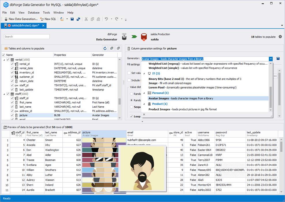 dbForge Data Generator for MySQL预览:dbForge Data Generator for MySQL界面