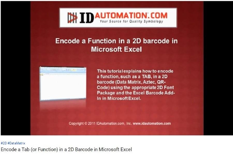 IDAutomation Excel中的条形码字体(十一):如何在Microsoft Excel的2D条形码中对选项卡(或函数)进行编码?
