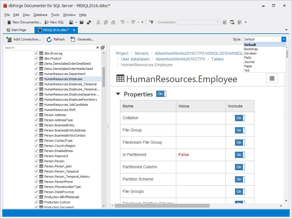 dbForge Documenter for SQL Server预览:丰富的自定义功能