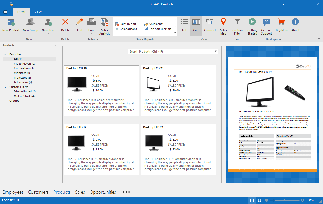 DevExpress Winforms Controls预览:WinForms Analytics报表桌面
