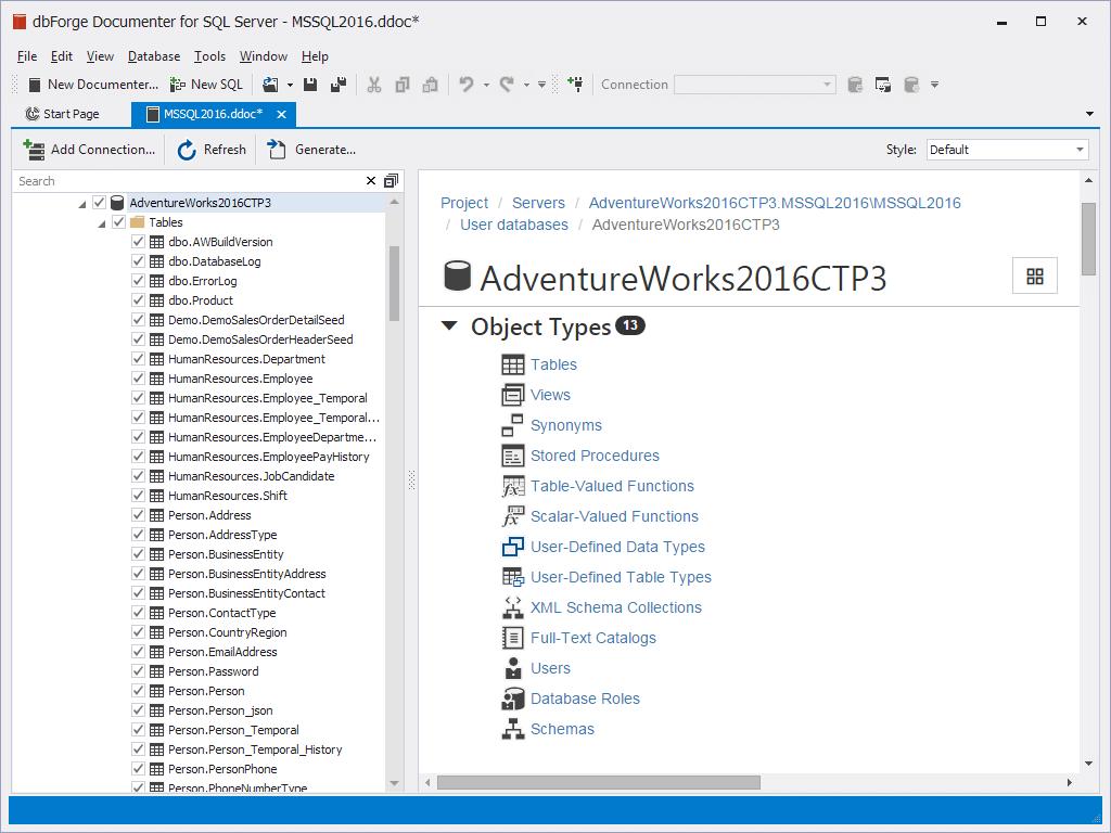 dbForge Documenter for SQL Server预览:数据库的图片