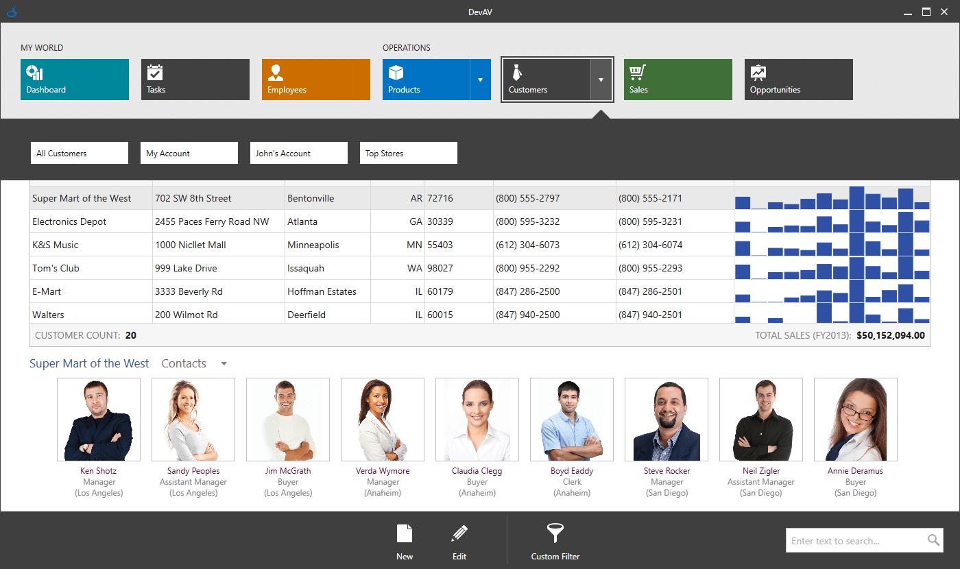 DevExpress WPF Controls预览:wpf win10 navigation tablet
