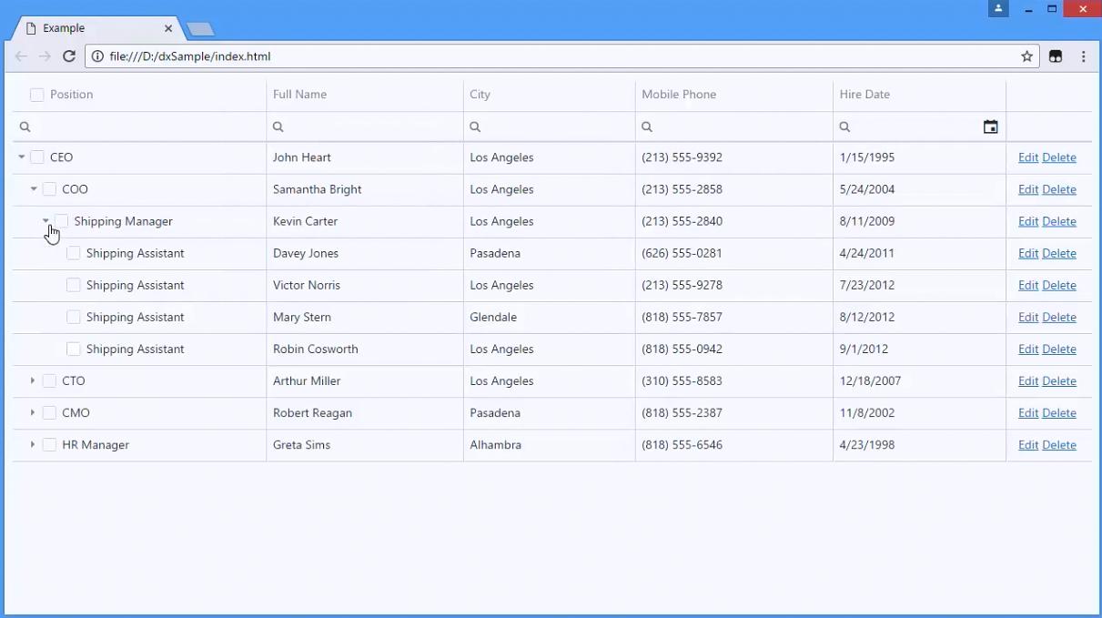 DevExtreme视频教程:HTML5 TreeList使用指南