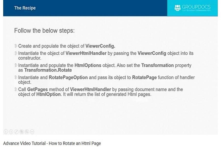GroupDocs.Viewer教程:如何旋转Html页面?