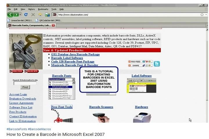 IDAutomation Excel中的条形码字体(十二):如何在Microsoft Excel 2007中创建条形码?