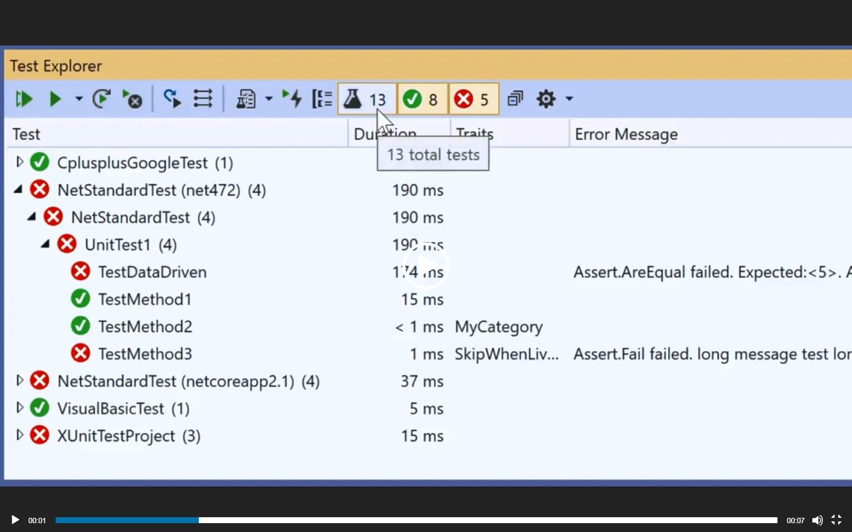 Visual Studio:2019版本16.2中的测试浏览器功能